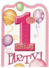 8 1st Birthday Pink Balloons Theme Party Invites